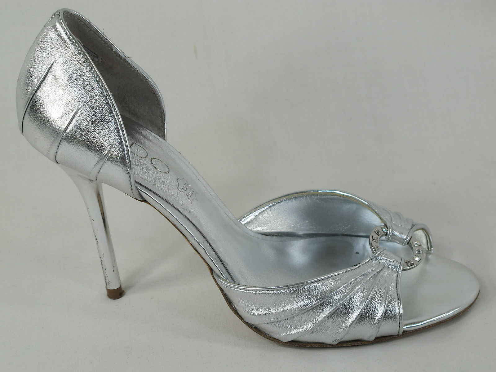 b51df46643e ALDO Silver Leather Open Toe Stiletto Heels and 28 similar items