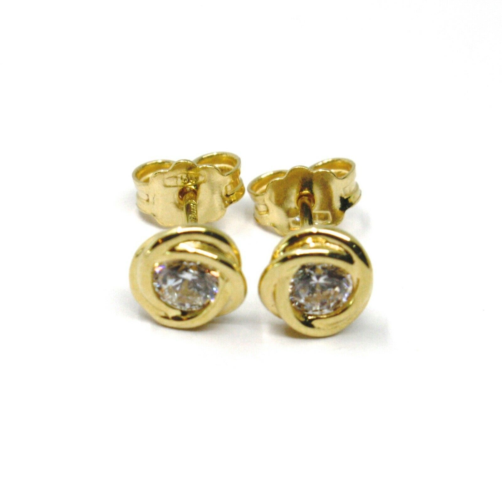 18K YELLOW GOLD MINI BUTTON EARRINGS CUBIC ZIRCONIA, FLOWER BRAIDED SPIRAL, 6 MM