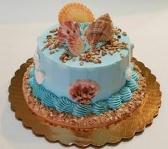 "Summer Beach Fake Cake Tropical Shells  6"" Faux Cake- fake food decoration - $26.72"