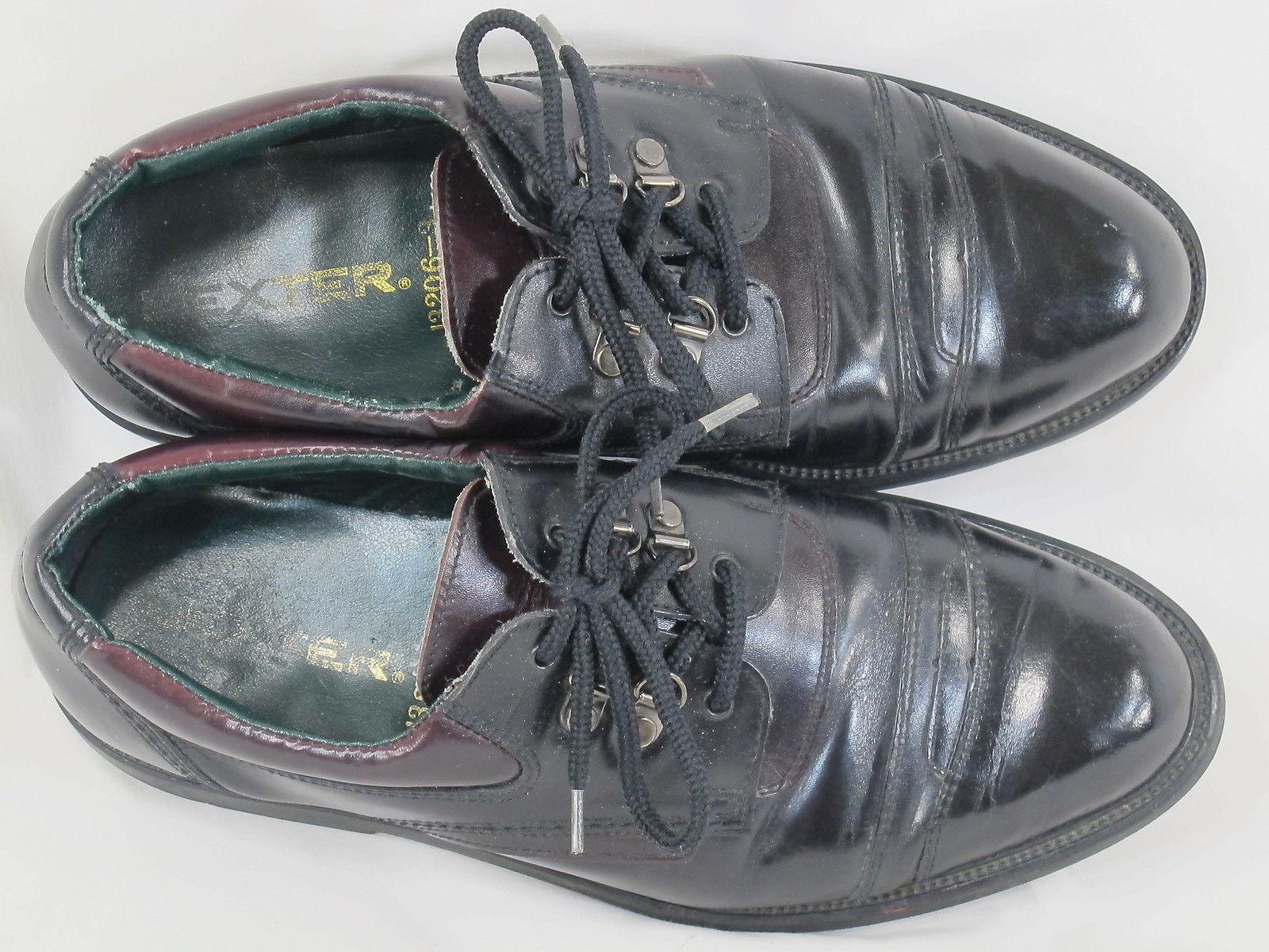 Dexter Black & Dark Cordovan Leather Oxford Shoes Size 8.5 D US EUC