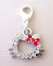 Hello Kitty Rhinestone Red Clip On Charm with Lobster Clasp for Link Cha... - $3.36