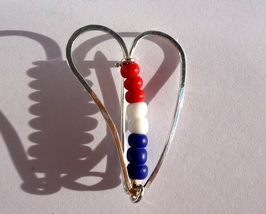 Silver Heart Pin - Red, White, and Blue - Love My Colors Argentium .925 ... - $17.50