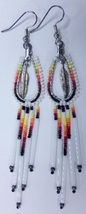 "Native American Beaded Earrings 3.5"" Dangle Hoo... - $39.99"