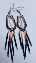 "Native American Beaded Earrings 4"" Dangle Hoop Glass Bugle Beads Horsesh... - $39.99"