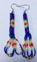 "Native American Beaded God's Eye Earrings 2.75"" Dangle Glass Bright Blue... - $34.99"