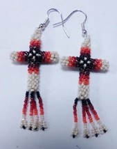 "Native American Beaded CROSS Earrings 2"" Dangle Glass Pearl Cream Orange... - $39.99"