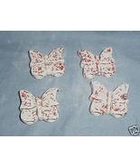 Four Ceramic Butterflies Beads For Macrame White/Orange - $7.00