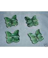 Four Ceramic Butterflies for Macrame Green - $7.00