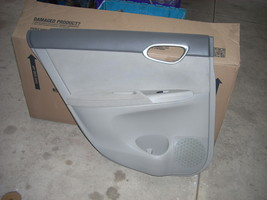2013 NISSAN SENTRA LEFT REAR DOOR TRIM PANEL TO-DARK GRAY AD BOTTOM-LIGHT GRAY