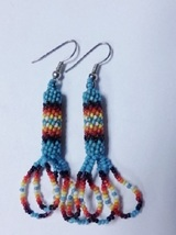 "Native American Beaded Earrings 2"" Long Dangle Glass Cherokee Handmade T... - $29.99"