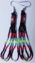 "Native American Beaded Earrings 3"" Long Dangle Glass Gods Eye Seminole H... - $29.99"