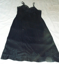 Vtg. Van Raalte Suavette Black Slip 32 w/floral Appliques, Organza Trim - $44.55
