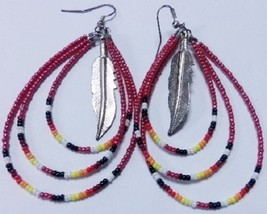 "Native American Beaded Earrings 3"" Dangle Triple Hoop Feather Red Cherok... - $29.99"