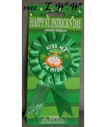 St. Patrick's Day Award Ribbon Button Kiss Me I'm Irish Leprachaun Pin - $2.00