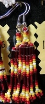 "Native American Beaded Glass Dangle Earrings 1 3/4"" Red Yellow Pyramid C... - $24.99"
