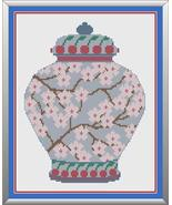 Cherry Blossom Ginger Jar cross stitch chart Cross Stitch Cards - $9.00