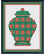Coral and Emerald Floral Ginger Jar cross stitch chart Cross Stitch Cards - $9.00
