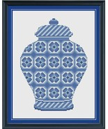 Delft Blue Floral Ginger Jar cross stitch chart Cross Stitch Cards - $9.00