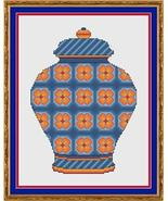 Orange and Blue Floral Ginger Jar cross stitch chart Cross Stitch Cards - $9.00