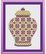 Yellow and Purple Floral Ginger Jar cross stitch chart Cross Stitch Cards - $9.00