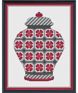 Red and Grey Floral Ginger Jar cross stitch chart Cross Stitch Cards - $9.00