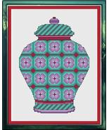 Lavender and Sea Green Floral Ginger Jar cross stitch chart Cross Stitch... - $9.00