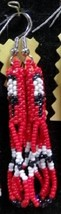 "Native American Beaded Earrings 3"" Dangle Red B... - $29.99"