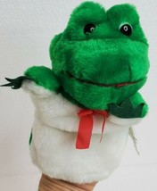 """Plush Hand Puppet Green Frog For Small Hand Vintage Lillian Vernon 7x6"""" - $12.73"""