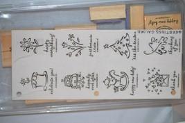 STAMPIN UP RETIRED GREETINGS GALORE Stamp Set Unmounted Christmas New Ye... - $8.02