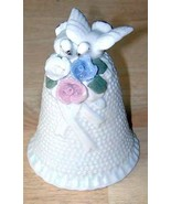 Ceramic WEDDING BELL w/Doves and Flowers MINT - $15.83