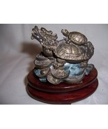 ANTIQUE CHINESE BRONZE MYTHICAL DRAGON TURTLE ON COINS GOOD FORTUNE FIGU... - $135.00