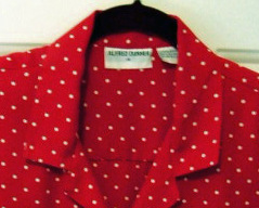 Alfred Dunner Ladies Fashion Blouse Red polka dot Poly sz 14
