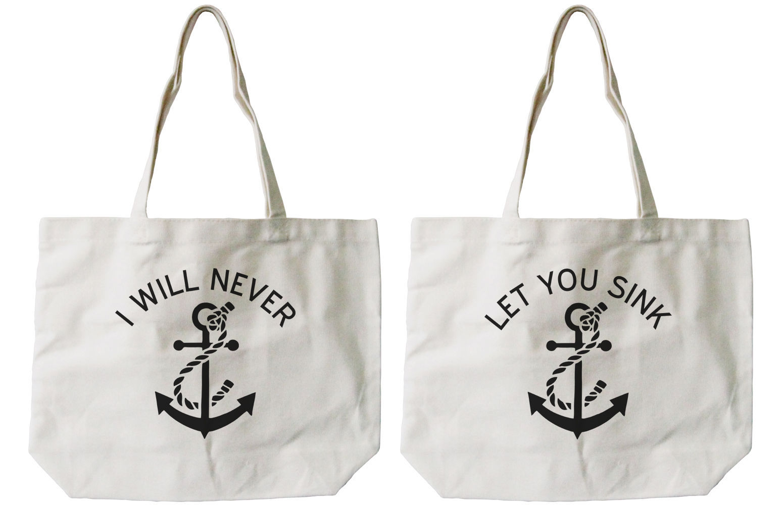 Best Friend Anchor Matching Cotton Canvas Tote Bags - Eco Bags, Book Bags