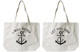 Best Friend Anchor Matching Cotton Canvas Tote Bags - Eco Bags, Book Bags - $41.19 CAD