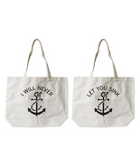 Best Friend Anchor Matching Cotton Canvas Tote Bags - Eco Bags, Book Bags - $30.99