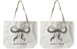 Cute Bow Tie BFF Matching Cotton Canvas Tote Bags - Eco Bags, Book Bags - $41.19 CAD