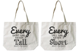 Short and Tall Best Friends Cotton Canvas Tote Bags - Eco Bags, Book Bags - $41.19 CAD
