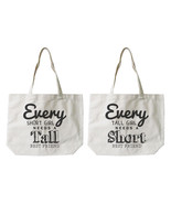 Short and Tall Best Friends Cotton Canvas Tote Bags - Eco Bags, Book Bags - $30.99