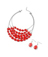 Shop LC Delivering Joy Mix Metal Silvertone Oval Red Howlite Earrings Ne... - $19.19