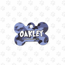 Blue camo print bone tag, for all dogs customiz... - $8.99