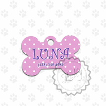 Polka dots design Dog or Cat metal tag, cute pink customized pets gift ID - $8.99