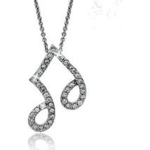 Diamond Alternatives Music Note Pendant Necklace 14k White Gold over 925 SS - $37.23