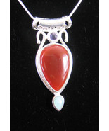 Sterling SIlver RED CARNELIAN PENDANT + CHAIN  ... - $24.99