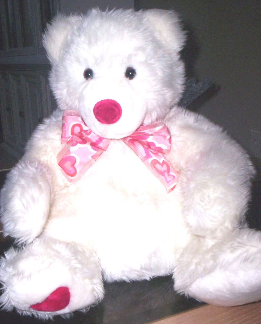 Beatiful FAO Schwarz white TEDDY BEAR Polar Bear ? Valentines Heart Foot Stuffed - $45.00