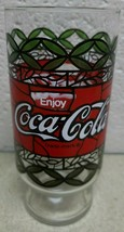 "Vintage Enjoy Coca Cola Large Drinking Glass 6.5"" Tiffany Style Stained - $18.70"