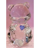 Fenton Crystal Birthstone Bear Blue Heart - $14.00