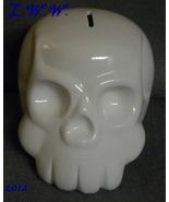 White Skull Large Ceramic Coin Bank Gothic Punk Morbid Piggy Bank - $19.99