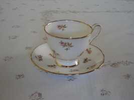 Royal Stafford pink Rosebud gold leaves cup and saucer VGU (1O) - $13.99