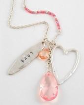 Womens Charm Love Heart Pink Valentine Teardrop Crystal Beaded Long Neck... - $12.97