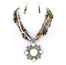 Natural Womens Brown White Gold Seed Bead Medallion Rustic Stone Necklace Set